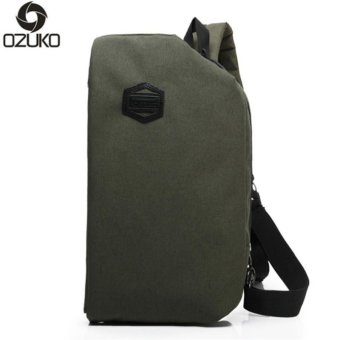 OZUKO 2017 New Creative Chest Bag Casual Multi-functional Shoulder Messenger Bag Travel Crossbody Handbag Chest Pack (Army Green) - intl