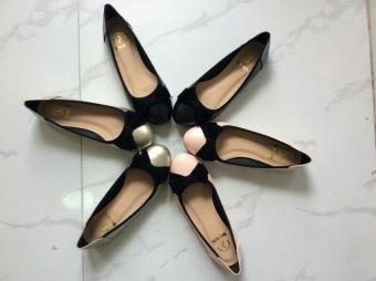 Giày búp bê nơ nhung BBNN-01 (Đen)