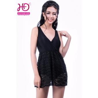 Bộ Áo Tắm Liền Dáng Váy Ren Đen LM33