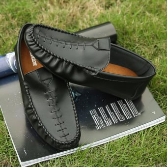 Jarma man's loafers slip-Ons shoes driving shoes male shoes flat moccasin Tods(Black) - intl