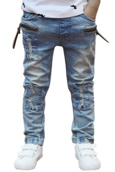Cyber Kids Children Boys Elastic Waist Jeans Denim Pants (Blue) - intl
