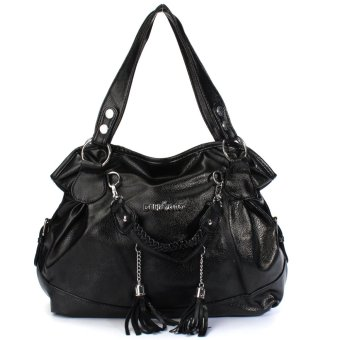 Fashion Women Leather Tassel Handbag Shoulder Bag Purse Messenger Shopper Tote Black - intl