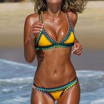Sunweb Sexy Women Strap Swimwear Pad Bikini Set ( Yellow ) - intl