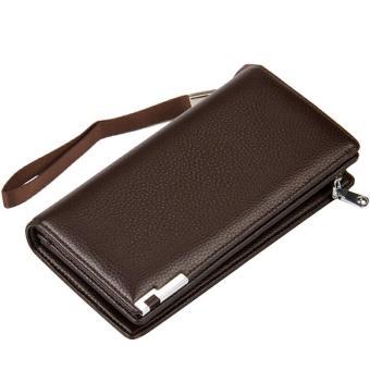 Business Men Money Change Credit Cards Holder Clutch Handbag PU Leather Casual Wallet Long Zipper Purse Brown - intl