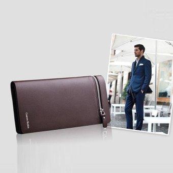 Men Leather Card Cash Receipt Holder Organizer Bifold Wallet Purse Coffee - intl