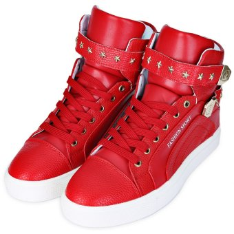 Solid Color Rivet Decoration Male High Top Shoes(Red) - intl