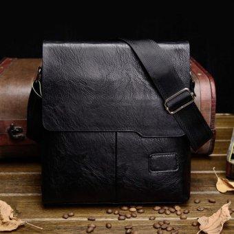 Moonar Men's Casual PU Leather Crossbody Bag Business Cowhide Waterproof Messenger Shoulder Sling Bag (Black) - intl