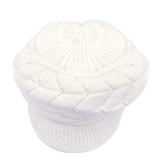 Women Fluffy Knit Beanie Crochet Hat Winter Brim Cap for Christmas Gift White
