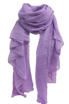 Bluelans Women's Long Cotton Linen Wrap Scarf Shawl Solid Color Stole Pashmina Light Purple (Intl)