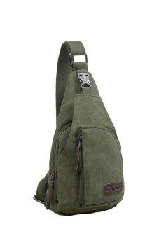 HKS Cool Outdoor Sports Casual Canvas Unbalance Backpack Crossbody Sling Bag Shoulder Bag Chest Bag for Men Green S - intl