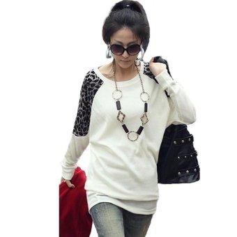 Zanzea Women Long Sleeve Leopard Print Loose Tops White - Intl