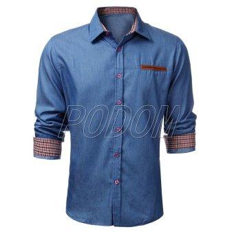 PODOM Stylish Men Slim Fit Long Sleeve Casual Vintage Plain Shirts - Intl