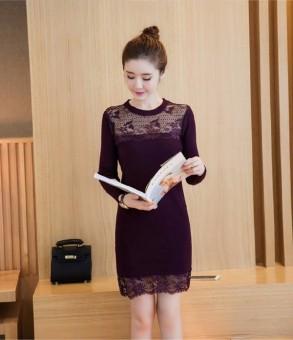 Váy len phối ren nữ dáng ngắn CN82 (Tím)