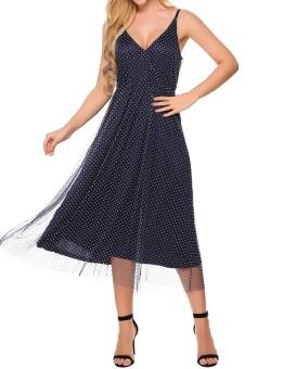 Cyber Women Sexy Dot A-Line Pleated Hem Net Yarn Maxi Cami Dress ( Navy Blue ) - intl