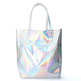 Women Girls Holographic Silver Shopping Bag Shoulder Tote Handbag Gammaray Tote Silver - intl