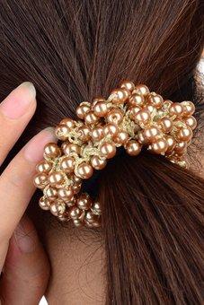 Bluelans Women Pearls Beads Hair Band Rope Scrunchie Ponytail Khaki (Intl)