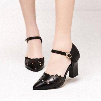 Giày Gót Vuông Cắt Laze Hoa-Đen