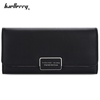 Baellerry Forever Young Logo Foldable Long Clutch Wallet Card Holder For Women(Black) - intl