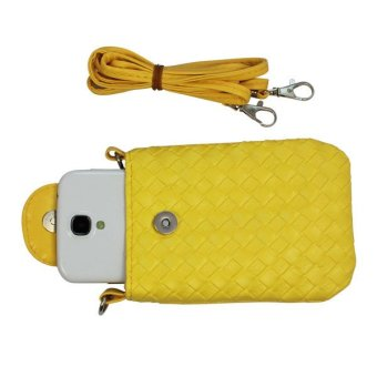 Wallet Purse Woven Coin Cell Phone Case Mobile Pouch Shoulder Bag Yellow