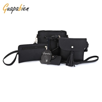 Guapabien PU Leather Shoulder Bag Card Holder Handbag 4pcs Bags For Women - intl