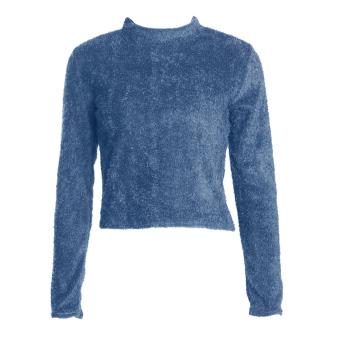 Turteneck Knitted Winterong eeve Crop Top hort Top (Navy Bue)