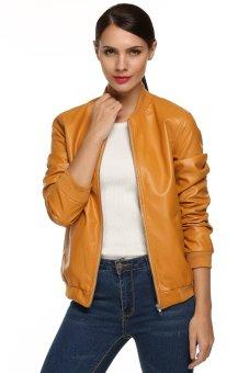 Cyber Women Motorcycle Leather Jackets Short Outerwear Coat ( Yellow ) - Intl