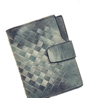 Women Leather Woven Pattern Short Wallet Card Bag - intl