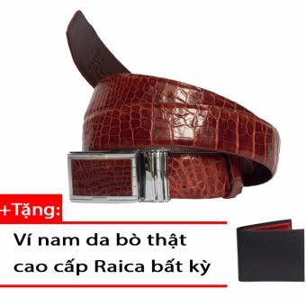 Thắt Lưng Nam Da Cá Sấu Cao Cấp Da Trơn – RAICA (Nâu đỏ)