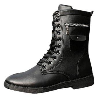 Giày boot nam combat dây kéo ngang SM003 (Đen)