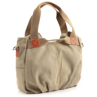 Canvas Shoulder Bag Simple Color Block Women Khaki - Intl