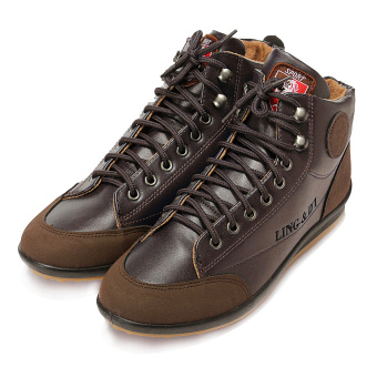 New Fashion Mens Flat Ankle Boots Casual Warm Shoes Lace-up High Top Sneakers - Intl