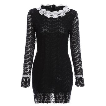 Elegant Round Collar Lacework Design Sheath Lace Dress for Women - intl