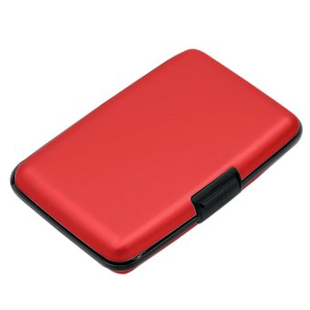 6 Layers Inside Aluminium Alloy Shell Waterproof Credit Card ID Card Coin Pocket Storage Case Box Holder Red