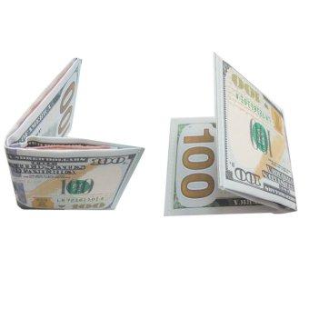 Bộ 02 ví da nam in hình tiền 100USD