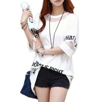2017 Plus Size T Shirt Women Summer Tops Half Sleeve Fashion Hollow Out Letter Printed Long Mesh Tops Female T-Shirt Tees (White) - intl