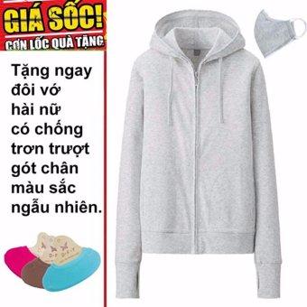 Áo khoác chống nắng cotton DMA store (ghi) tặng 1 đôi tất chống trơn trượt và 1 khẩu trang hoạt tính