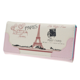 Women Cute Print Leather Long Button Purse Wallet Pink