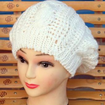 Women Winter Beret Crochet Hat White (Intl)