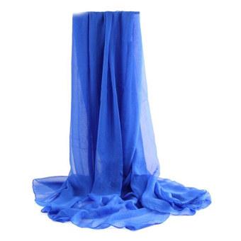 Moonar Women Chiffon Soft Scarves Long Wraps Shawl Beach Silk Scarf (Blue)