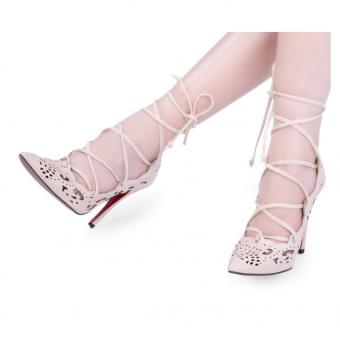 Sexy High Thin Heel Shoes Ladies Cross Lace Up Hollow Pointed Toe Solid Color (Apricot) - intl