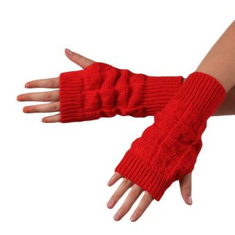 Knitted Fringe Warm Gloves Watermelon Red (Intl)
