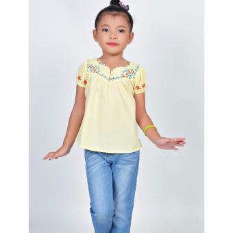 Áo kiểu thêu cúp trước Somy Kids màu vàng