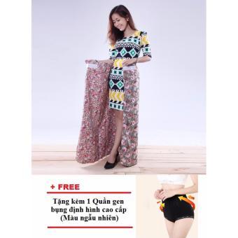 Chân váy chống nắng 2 lớp tiện dụng (Họa tiết) + Tặng 1 quần gen bụng định hình cao cấp (Màu ngẫu nhiên)