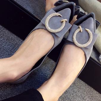 Giày búp bê đính nơ điệu đà cho bạn gái-142 (Xám)