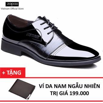 Giày Tây Nam Da Cột Dây Zapas GT009 (Đen) + Tặng Ví Nam