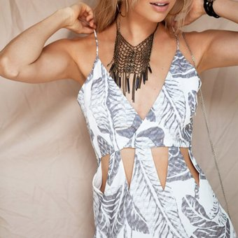 YOINS V-neck Wrap Front Triangle Cut Out Mini Dress in Printing - intl