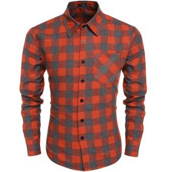 Cyber Coofandy Men's Casual Plaid Long Sleeve Turndown Neck Shirt (Orange) - Intl