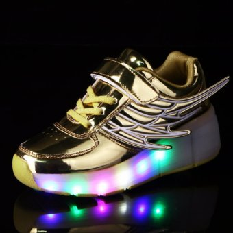 2017New Kids USB Charging LED Light Shoes Soft Leather Casual Boy&Girl Luminous Antiskid Bottom Children Party Sneakers - intl