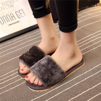 Women Home Indoor Open Toe Soft Shoes Mule Slipper Fur Winter Warm Flats Plush Grey - intl