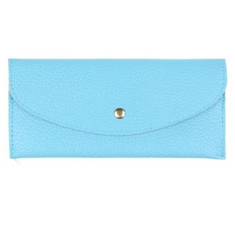 Candy Colors Envelope Slim Design Leather Wallet Blue